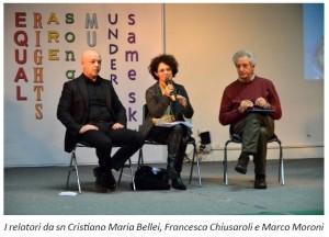 I relatori da sn Cristiano Maria Bellei, Francesca Chiusaroli e Marco Moroni
