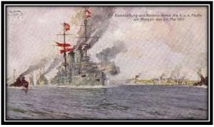 Cartolina commemorativa austroungarica del bombardamento di Ancona (24 maggio 1916)