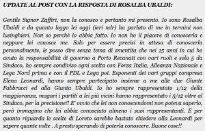 Update al post con la risposta di Rosalba Ubaldi
