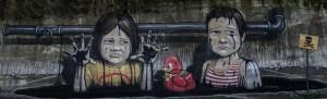 ASCOLI PICENO - Graffito realizzato dall'artista Andrea Tarli nel Piceno in vista del referendum del 17 Aprile 2016.