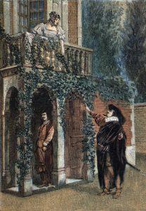 """Cyrano de Bergerac"""" de Edmond Rostand : Christian joue par Monsieur Volny, Roxane par Mademoiselle L. Yalme et Cyrano joue par Coquelin. Gravure debut du 20eme siecle ©Lee/Leemage"""