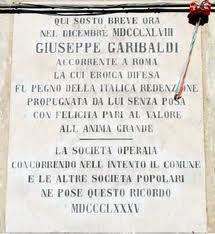LAPIDE IN RICORDO DELLA SOSTA DI GARIBALDI A RECANATI NEL 1848- FOTO WIKIPEDIA