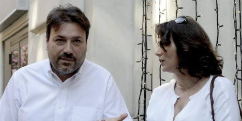 ROME, ITALY - JUNE 18: Anna Falcone and Tomaso Montanari during the assembly to build a popular alliance for Democracy and Equality, a United Left Alternative to the Democratic Party at the Brancaccio Theatre on June 18, 2017 in Rome, Italy. The assembly was called by Anna Falcone and Tomaso Montanari with a view to creating a new movement in Italy, seeking to attract broad support from citizens as well as sympathetic political parties, movements, associations, committees and across all civil society. (Photo by Simona Granati - Corbis/Corbis via Getty Images)