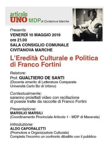 Locandina conferenza su Franco Fortini