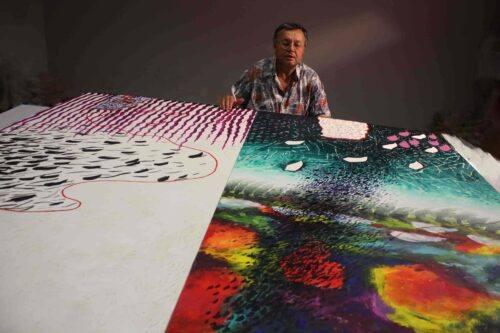 r-Carlo Iacomucci mentre dipinge