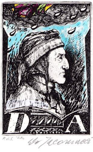 Dante Alighieri - ExLibris in acquaforte di Carlo Iacomucci