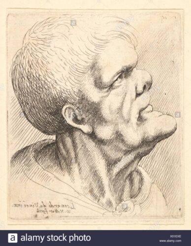 testa di uomo con mento sporgente - alamy stock photo